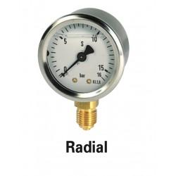 Manomètre radial diam 50 0-10 bars à bain de glycérine